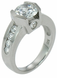 Savoy 2 Carat Semi Bezel Set Round Cubic Zirconia Contemporary Solitaire Engagement Ring