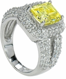 Carlena Emerald Cut Pave Ring