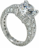 Setah Eternity 3 Carat Round Cubic Zirconia Pave Solitaire Engagement Ring