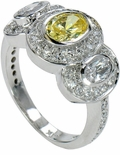 Cavalier Oval Three Stone Cubic Zirconia Pave Halo Solitaire Engagement Ring Series