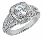 Quintana Round Cubic Zirconia Halo Pave  Engagement Ring Series