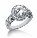 Legend Round Cubic Zirconia Pave Halo Cathedral Solitaire Engagement Ring