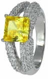Dion 1.5 Carat Princess Cut Canary Cubic Zirconia Pave Split Shank Solitaire Engagement Ring