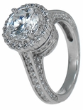 Cylindra 2 Carat Round Cubic Zirconia Halo Cathedral Style Solitaire Engagement Ring