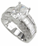 Cushion Emerald Cut Pave` & Channel Solitaire