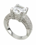Casino 4 Carat Cushion Cut Cubic Zirconia Pave Set Solitaire Engagement Ring