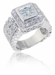 Toscani 1.5 Carat Bezel Set Princess Cut Cubic Zirconia Pave Halo Solitaire Engagement Ring