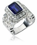 Emma Emerald Cut  Bezel Set Pave Halo Ring