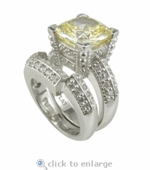 Cushion Cut 2.5 Carat Cubic Zirconia Decadence Wedding Set with Contoured Band