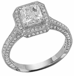 Rushmore Emerald Cut Micro Pave Halo Solitaire Ring
