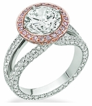Messina 3 Carat Round Cubic Zirconia Halo Split Shank Eternity Solitaire