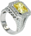Valletta 7 Carat Canary Princess Cut Cubic Zirconia Split Shank Halo Ring