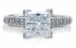 Impresso Princess Cut Pave CZ Cathedral Solitaire