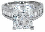 Emerson Radiant Emerald Cut Channel Set Baguette CZ Solitaire
