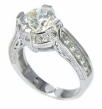 Gabriella Round Cubic Zirconia Engraved Antique Estate Style Solitaire Engagement Ring