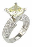 Pave Splendor Princess Cut Cubic Zirconia Solitaire Engagement Rings