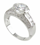 Altore Cubic Zirconia Round Semi Bezel Solitaire Princess Cut Engagement Ring