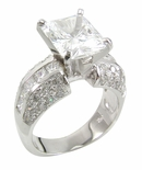 Emerald Cut Riviera Cubic Zirconia Solitaire Channel Set Princess Cut Engagement Pave Ring