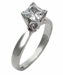 Princess Cut Cubic Zirconia Tulip Flower Petal Solitaire Engagement Ring