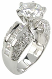 Round Riviera Cubic Zirconia Solitaire Channel Set Princess Cut Engagement Pave Ring