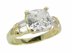 Callista Cushion Cut Cubic Zirconia Channel Set Baguette Solitaire Engagement Ring