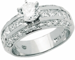 Evora Round And Princess Cut Wide Band Ring
