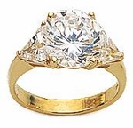 3 ct. Round With Trillions Ring Featuring Ziamond Cubic Zirconia