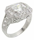 Emerald Cut Pave` Estate Ring