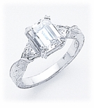 Tivora Cubic Zirconia Emerald Cut With Trillions Engagement Ring