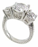 3.5 ct. Round Three Stone Engraved Anniversary Ring