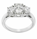 Three Stone Oval Classic Rings Featuring Ziamond Cubic Zirconia