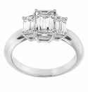 Three Stone Emerald Cut Rings Featuring Ziamond Cubic Zirconia