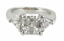 Asscher Cut Inspiration with Trillions Rings Ring Featuring Ziamond Cubic Zirconia