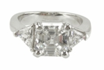 1 carat Asscher Cut Inpiration with Trillions Ring Featuring Ziamond Cubic Zirconia