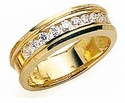 Leone Cubic Zirconia Channel Set Round Pipe Wedding Band
