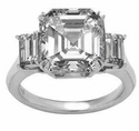 Empress Asscher Cut Cubic Zirconia Emerald Step Cut Three Stone Solitaire Engagement Rings