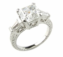 Engraved Antique Asscher Cut Cubic Zirconia Baguette Solitaire Engagement Ring