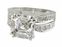 Spiga Asscher Cut 4 Carat Cubic Zirconia Double Prong Split Shank Solitaire Engagement Ring