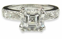 Royal Crown Asscher Cut Cubic Zirconia Pave Solitaire Engagement  Ring
