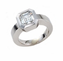 Bexo Bezel Set Asscher Cut Cubic Zirconia Solitaire Engagement Ring