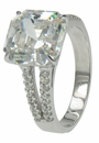 Valora 5.5 Asscher Cut Cubic Zirconia Pave Set Round Split Shank Engagement Ring