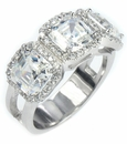 Mayfair Asscher Cut Cubic Zirconia Halo Pave Set Three Stone Engagement Ring