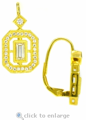 Isabella Emerald Step Cut Cubic Zirconia Pave Euro Wire Drop Earrings