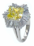 Soleil 2.5 Carat Emerald Radiant Cut Canary Cubic Zirconia Baguette Cluster Ballerina Ring