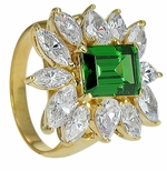 Sienna 2.5 Carat Emerald Step Cut Cubic Zirconia Marquise Cluster Ballerina Ring
