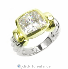 Two-Tone Bezel Cushion Solitaire