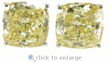 7 Carat Each Cushion Cut Cubic Zirconia Simulated Canary Diamond Stud Earrings
