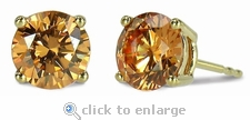 3.5 Carat Each Round Cubic Zirconia Simulated Diamond Cognac Stud Earrings