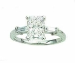 1 carat Emerald Cut Cubic Zirconia Baguette Solitaire Engagement Ring