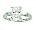 1.5 carat Emerald Cut Cubic Zirconia Baguette Solitaire Engagement Ring
